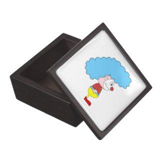 Colorful Clown Cartoon Blue Hair Premium Jewelry Box
