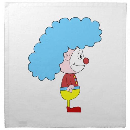 Colorful Clown Cartoon. Blue Hair. Printed Napkins