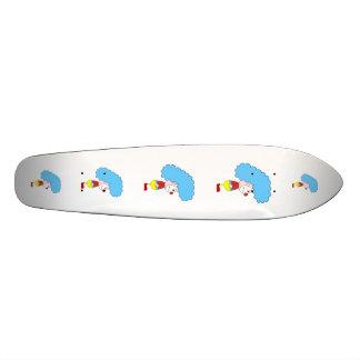 Colorful Clown Cartoon. Blue Hair. Skate Board Deck