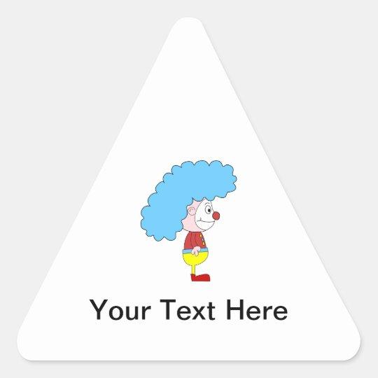 Colorful Clown Cartoon. Blue Hair. Triangle Sticker