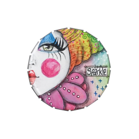 Colorful Clown Mime Pink Blue Green Yellow Orange Candy Tin