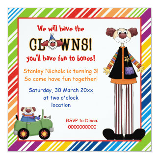 Colorful clown striped border kids birthday card