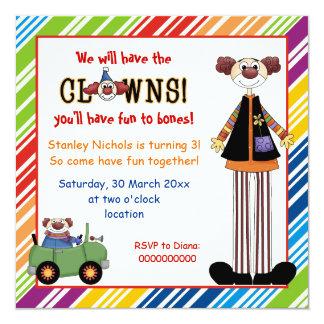 """Colorful clown striped border kids birthday 5.25"""" square invitation card"""