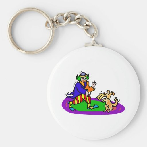 Colorful clown with dog keychains