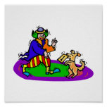 Colorful clown with dog poster