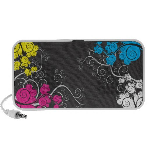 Colorful CMYK Abstract Vines Mp3 Speaker