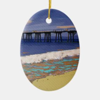 Colorful Coastal Configuration Ceramic Ornament
