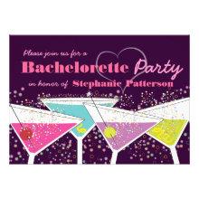 Colorful Cocktails Bachelorette Party Invitation