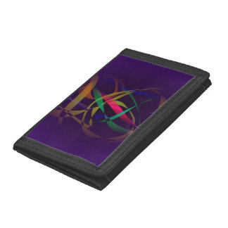 Colorful Cocoon in a Dark Purple Space Trifold Wallets