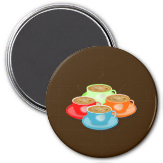 Colorful Coffee Cups 3 Inch Round Magnet