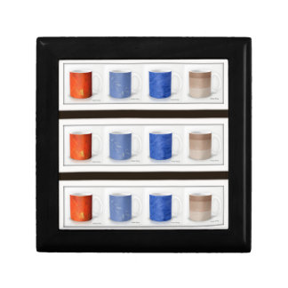 Colorful Coffee Mugs Framed Keepsake Box