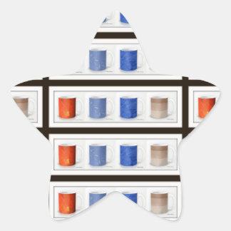 Colorful Coffee Mugs Framed Star Sticker