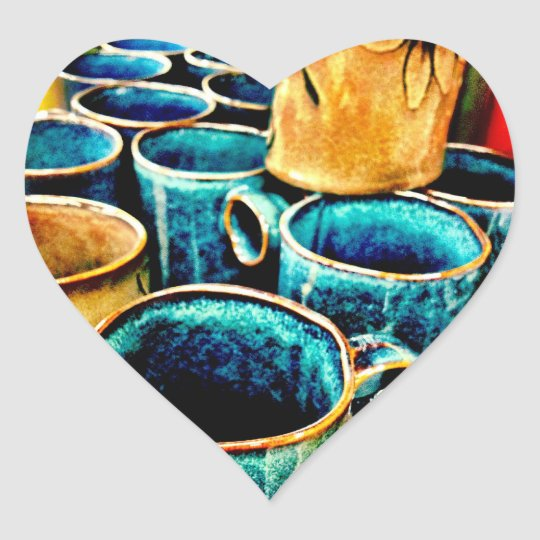 Colorful Coffee Mugs Gifts for Coffee Lovers Heart Sticker