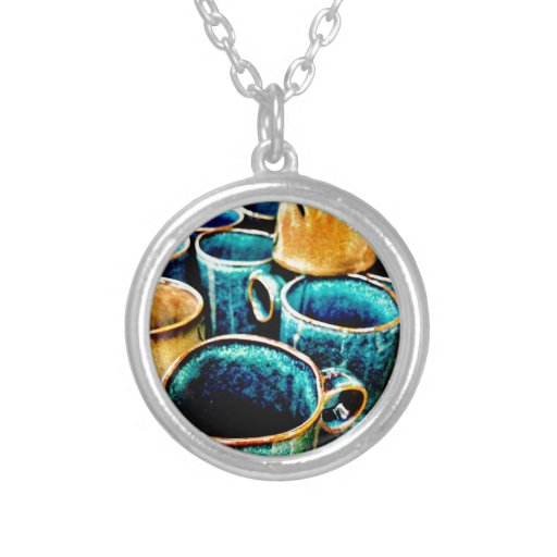 Colorful Coffee Mugs Gifts for Coffee Lovers Round Pendant Necklace