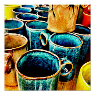 Colorful Coffee Mugs Gifts for Coffee Lovers Teal Poster