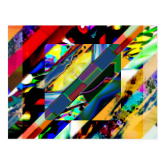 Colorful Collage Cube Postcard