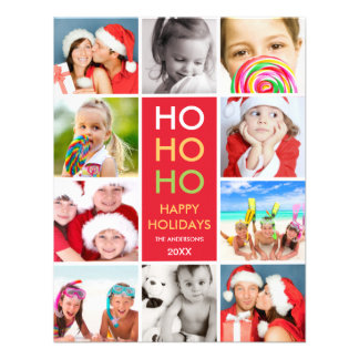 COLORFUL COLLAGE HOLIDAY PHOTO CARD PERSONALIZED INVITE