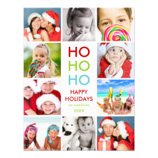 COLORFUL COLLAGE HOLIDAY PHOTO CARD ANNOUNCEMENTS
