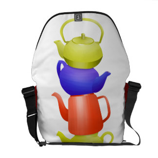 Colorful collection of teapots messenger bag