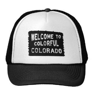 Colorful Colorado black welcome sign Mesh Hats