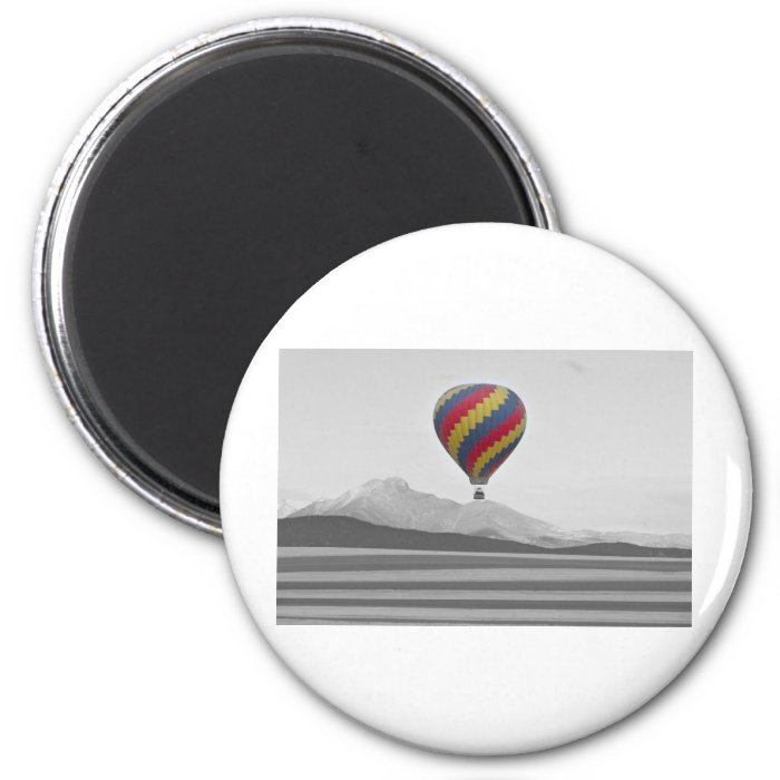 Colorful Colorado Hot Air Balloon and Longs 2 Inch Round Magnet