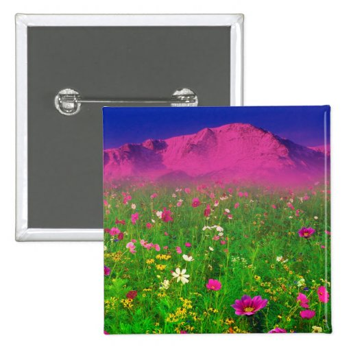 Colorful Colorado, Pikes Peak Mountain Pinback Buttons
