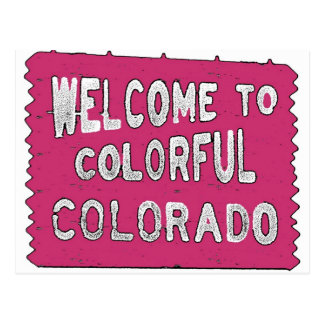 Colorful Colorado pink wood sign Postcard