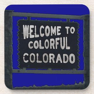 Colorful Colorado rustic blue square coasters