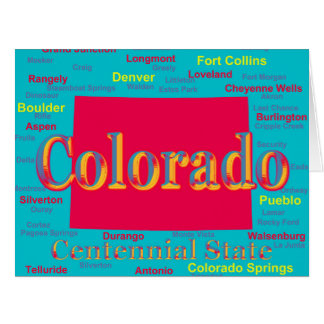 Colorful Colorado State Pride Map Silhouette Card