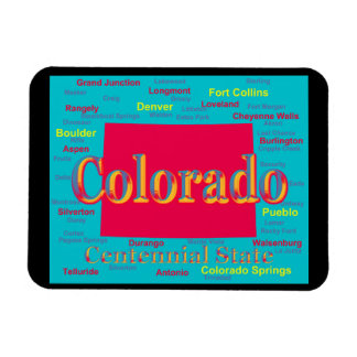 Colorful Colorado State Pride Map Silhouette Magnet