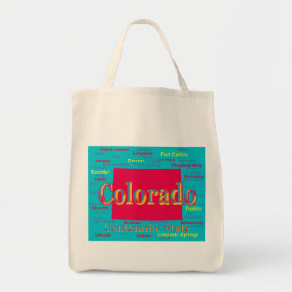 Colorful Colorado State Pride Map Silhouette Tote Bag