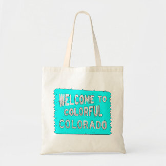 Colorful Colorado teal welcome sign Tote Bags