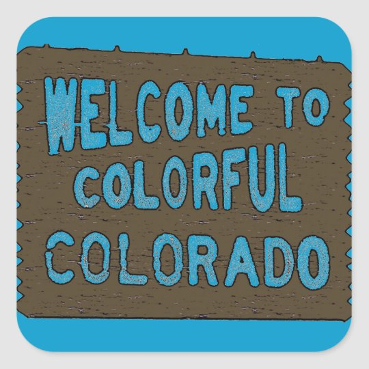 Colorful Colorado welcome sign blue stickers