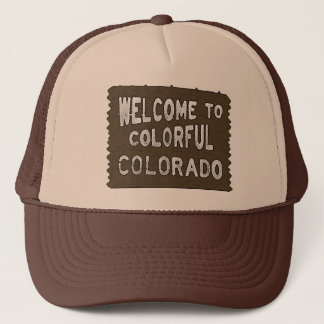 Colorful Colorado welcome sign brown hat