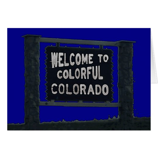 Colorful Colorado welcome sign customizable cards