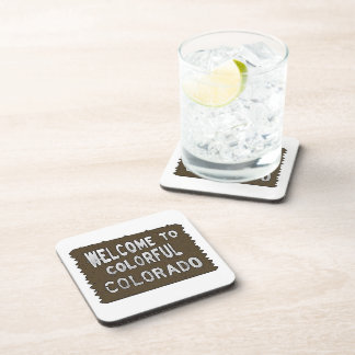 Colorful Colorado welcome sign decorative coasters