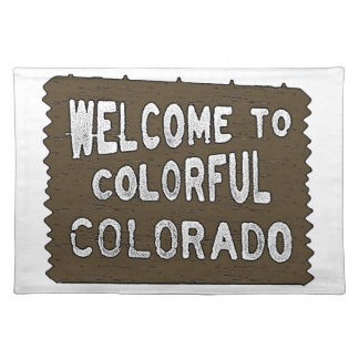 Colorful Colorado welcome sign dinner placemats