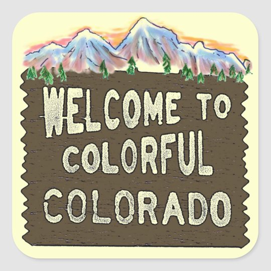 Colorful Colorado welcome sign mountains stickers