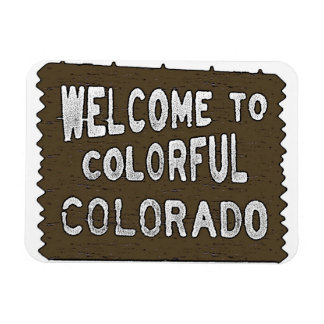 Colorful Colorado welcome sign souvenir magnet