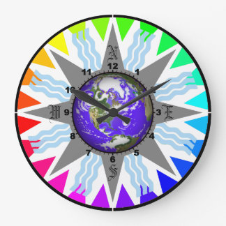 Colorful Compass Earth Wall Clock
