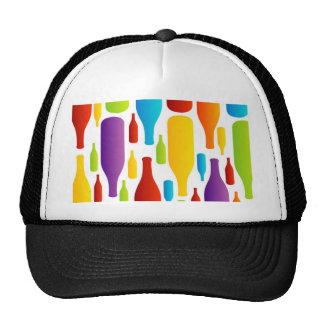 colorful composition of bottles trucker hat