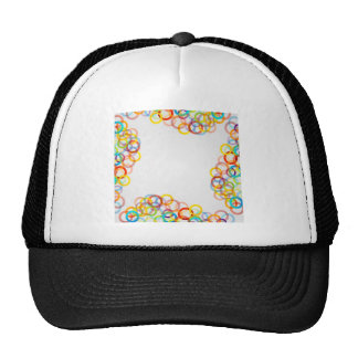 colorful composition of circles trucker hat