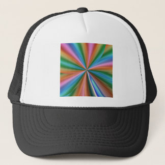 colorful computer generated graphic  like flower trucker hat
