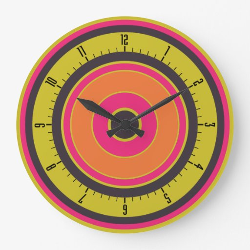 Colorful Concentric Circles 06 Large Clock