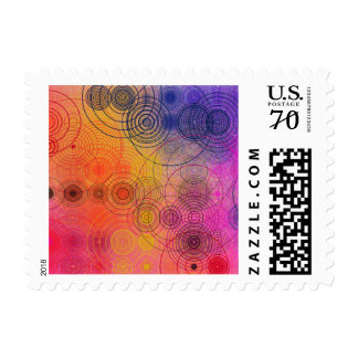 Colorful Concentric Circles 66 cent postage stamp
