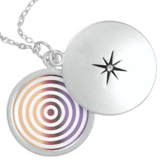 Colorful concentric circles round locket necklace