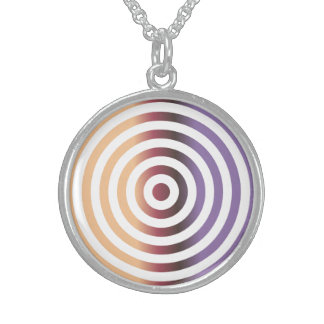 Colorful concentric circles round pendant necklace