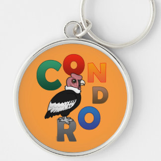 Colorful Condor Silver-Colored Round Keychain