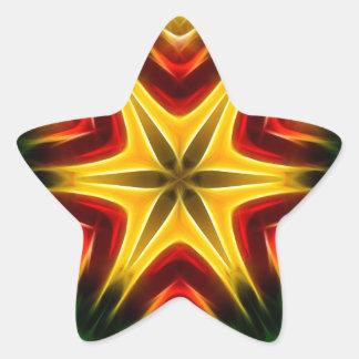 Colorful Coneflower Fractal Kaleidoscope Star Sticker