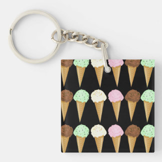 Colorful Cones Double-Sided Square Acrylic Keychain